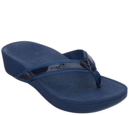 73cc56b3920f Vionic Platform Leather Sandals - High Tide - Page 1 — QVC.com