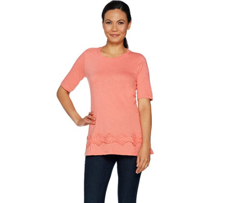 LOGO by Lori Goldstein Cotton Slub Top with Crochet Lace
