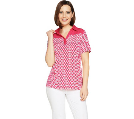 Susan Graver Printed Liquid Knit Polo Shirt