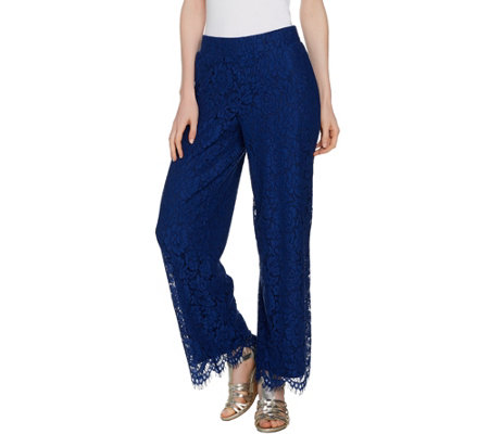 Isaac Mizrahi Live! Regular Floral Lace Wide Leg Pull-On Pants