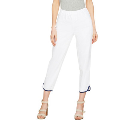 C. wonder Petite  Cotton Sateen Crop Pants with Hem Detail