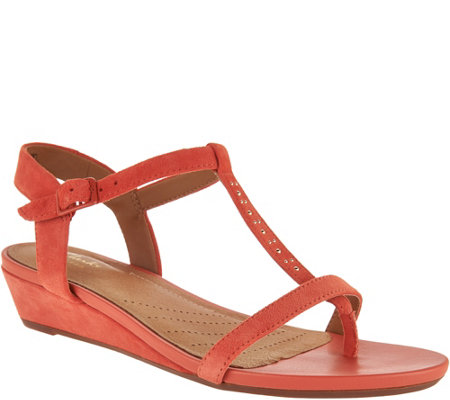 Clarks Artisan Suede Low Wedge Sandals - Parram Blanc