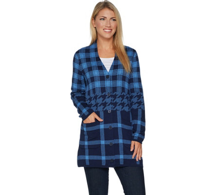 Isaac Mizrahi Live! Engineered Plaid Button Front Cardigan