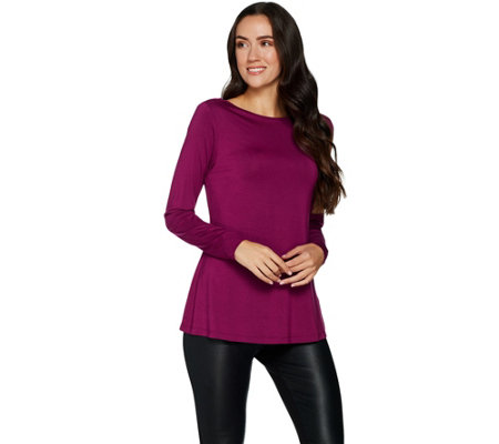 H by Halston Essentials Boatneck Top with Gusset Details