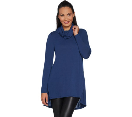 Lisa Rinna Collection Petite Cowl Neck Tunic with Seam Detail