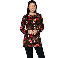 Denim & Co. Floral Print Perfect Jersey Round Neck Long Sleeve Tunic - A299211