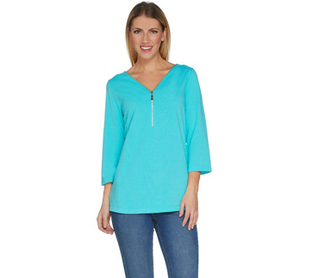 Belle By Kim Gravel Signature Gold Zip V-Neck Top