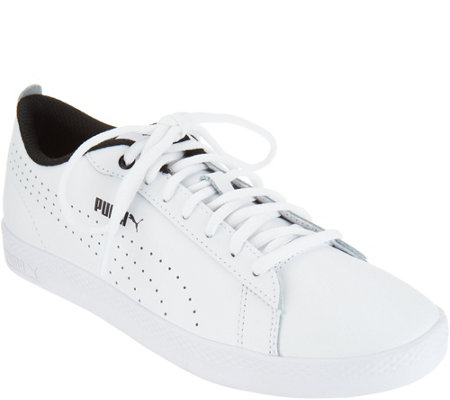 88f295b89a57 Puma Leather Court Sneakers - Smash Perf - Page 1 — QVC.com