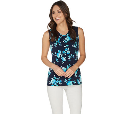 Susan Graver Printed Liquid Knit V-Neck Tank Top