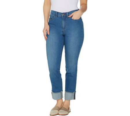 Studio by Denim & Co. Petite Classic Denim Cuffed Ankle Jeans - Indigo