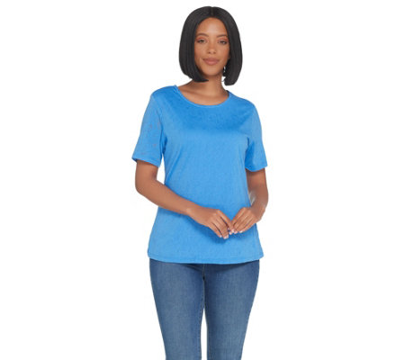 Denim & Co. Scoop-Neck Short Sleeve Burnout Top with Lining