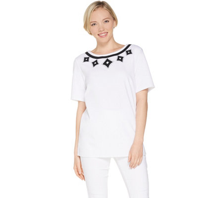Dennis Basso Luxe Crepe Elbow-Sleeve Top w/Applique Trim