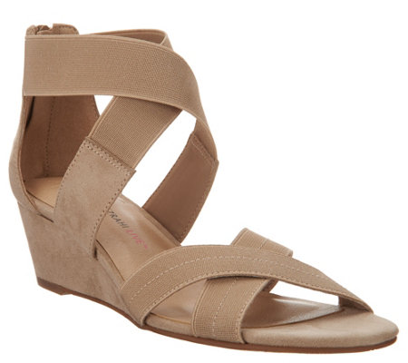 Isaac Mizrahi Live Double Strap Wedge Open Toe Sandal