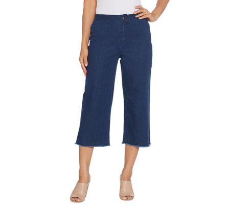 Joan Rivers Petite Length Denim Gauchos with Fringe Hem