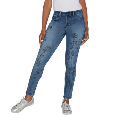 Laurie Felt Silky Denim Water Paint Skinny Pull-On Jeans