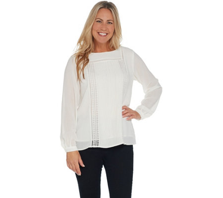 Joan Rivers Long Sleeve Blouse with Pintuck Detail