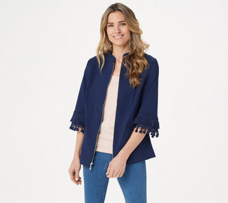 Belle by Kim Gravel Citi Twill Zip-Front Jacket
