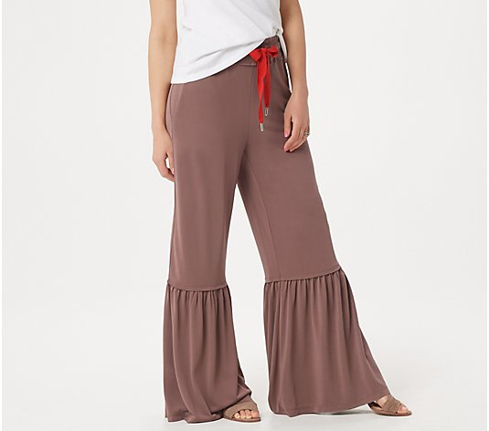 Peace Love World Petite Knit Pull-On Laura Pants with Ruffle Hem