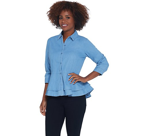 """As Is"" Joan Rivers Button Front Denim Shirt with Peplum Detail"