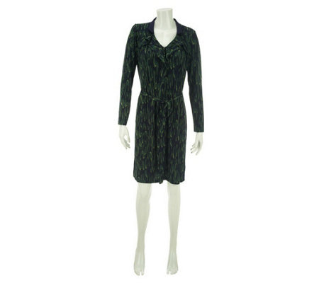 """As Is"" Kelly by Clinton Kelly Printed Knit Dress with Ruffle Detail"