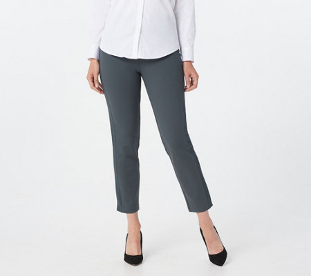 Joan Rivers Petite Signature Ponte Ankle Pants w/ Grosgrain Trim