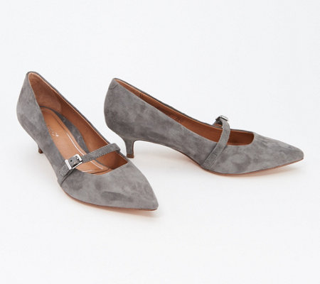 9a72d69eb11 Vionic Suede or Leather Mary Jane Pumps - Minnie — QVC.com
