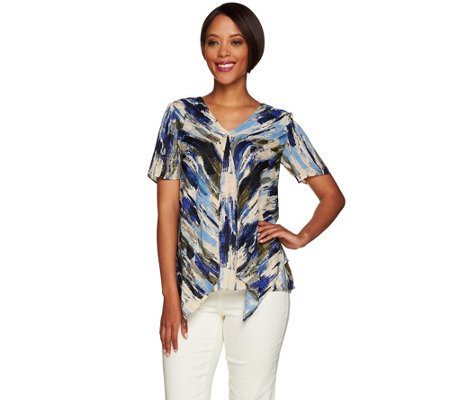 As Is H By Halston Short Sleeve Double Layer Top
