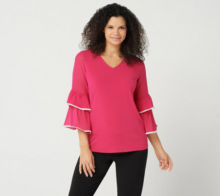 """As Is"" Susan Graver Liquid Knit Top with Sheer Chiffon Sleeves"