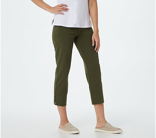 Susan Graver Weekend Regular Premium Stretch Crop Pants w/ Trim