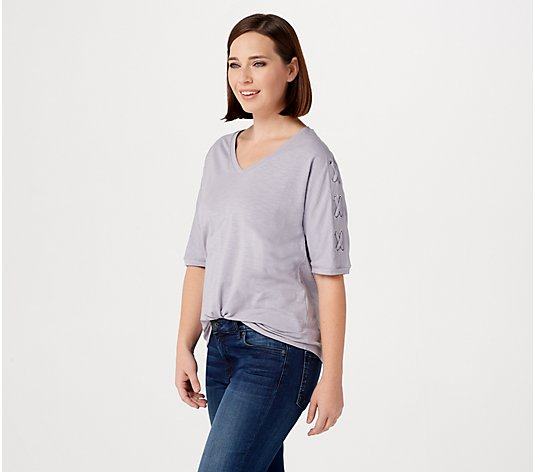 AnyBody Cozy Knit Slub Tee with Laced-Up Sleeves