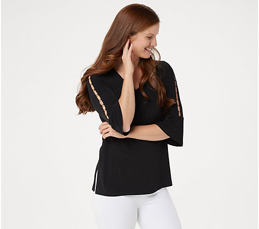 """As Is"" Susan Graver Liquid Knit Top with Grommet Trim"