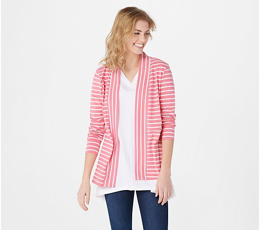 Denim & Co. Regular Essentials Striped Jersey Cardigan