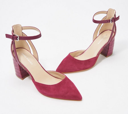 """As Is"" Marc Fisher Pointed Toe Pumps w/ Ankle Straps - Raie"