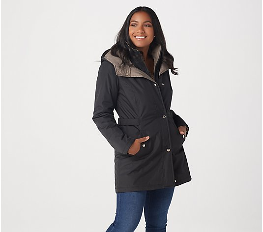 """As Is"" Susan Graver Water Resistant Jacket with Contrast Hood"