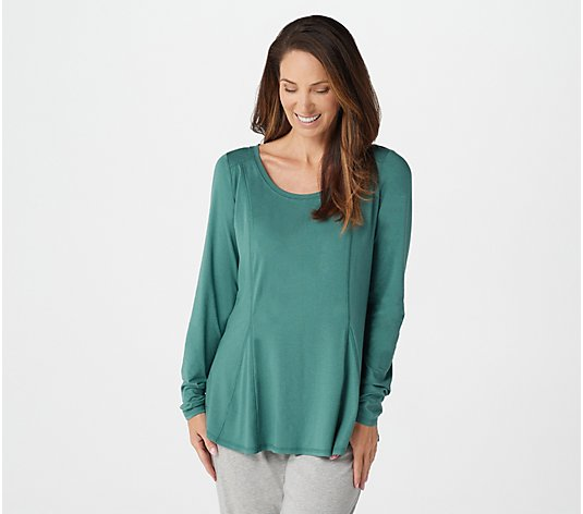 """As Is"" AnyBody Cozy Knit Long Sleeve Swing Top"