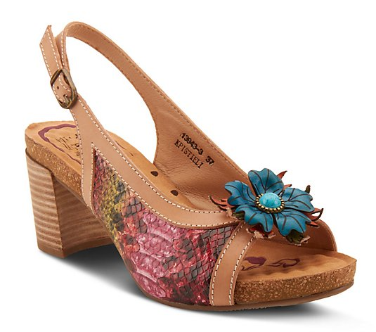 L'Artiste By Spring Step Leather Floral Sandals- Kristieli