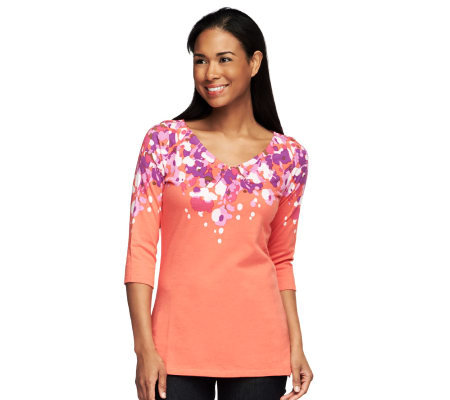 Isaac Mizrahi Live! Placed Collage Floral Print Tunic