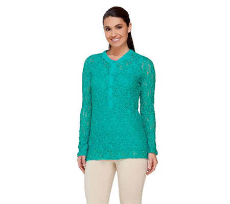 Susan Graver Weekend Cotton Nylon Stretch Lace Top