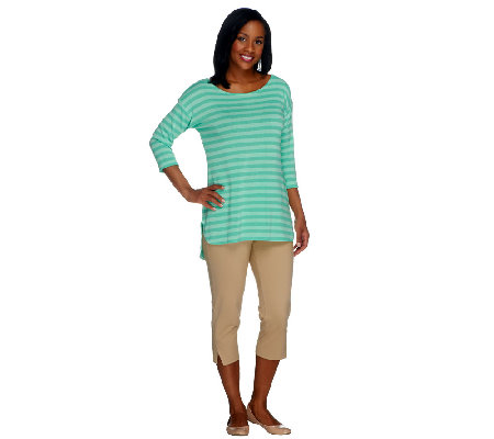 Women with Control Stripe Knit Tunic & Side Slit Capri Set
