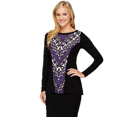 Bob Mackie's Long Sleeve Printed Front Panel Knit Top