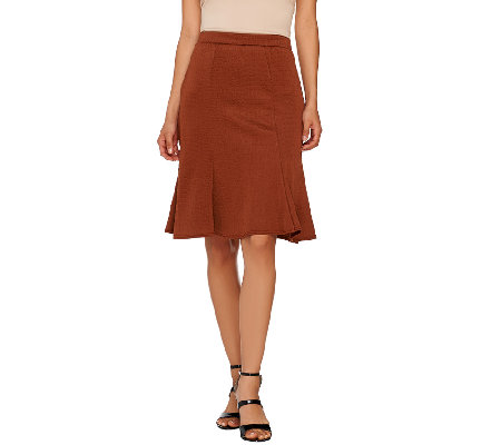 George Simonton Textured Knit Flounce Skirt with Seam Detail