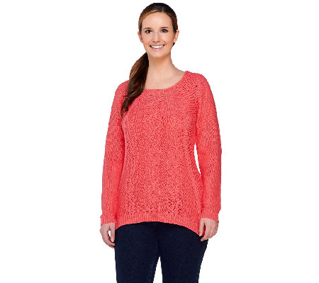 As Is Denim Co Novelty Cable Sweater With Knit Tank