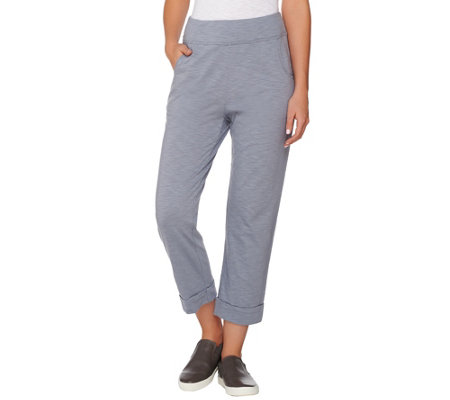 LOGO Lounge by Lori Goldstein Cotton Slub Crop Pants with Pockets