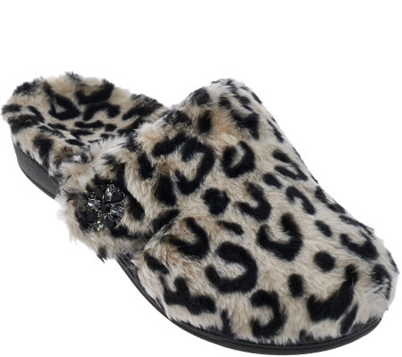 Vionic w/ Orthaheel Orthotic Furry Slippers - Gemma Luxe