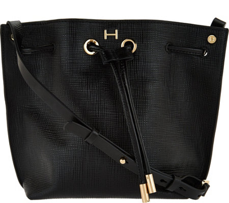 H by Halston Saffiano Leather Drawstring Handbag