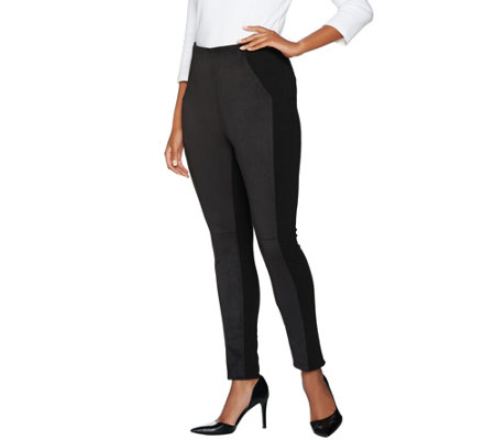 Kelly by Clinton Kelly Pet Pull-On Ponte Pants with Faux Suede