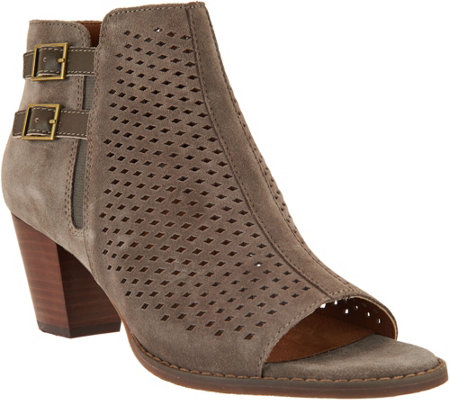 Vionic Orthotic Suede Peep Toe Ankle Boots - Chryssa