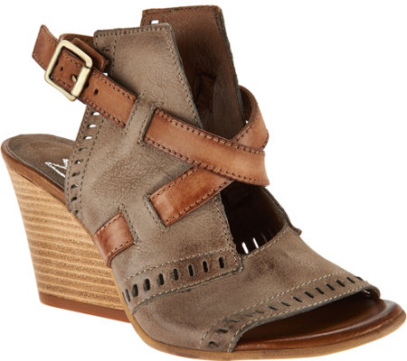 Miz Mooz Leather Two Toned Block Wedges Kipling