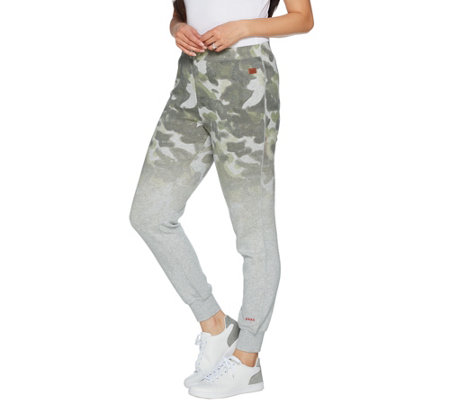 Peace Love World Ombre Printed Fleece Jogger Pants