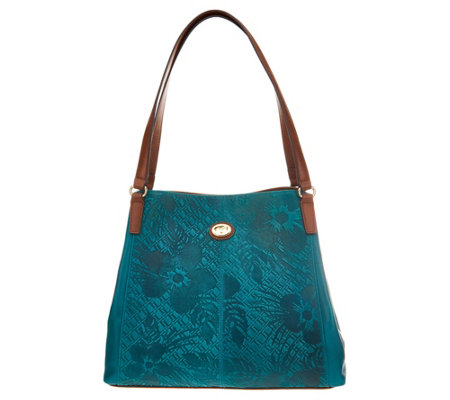 """As Is"" Tignanello Embossed Leather Triple Entry Shopper"